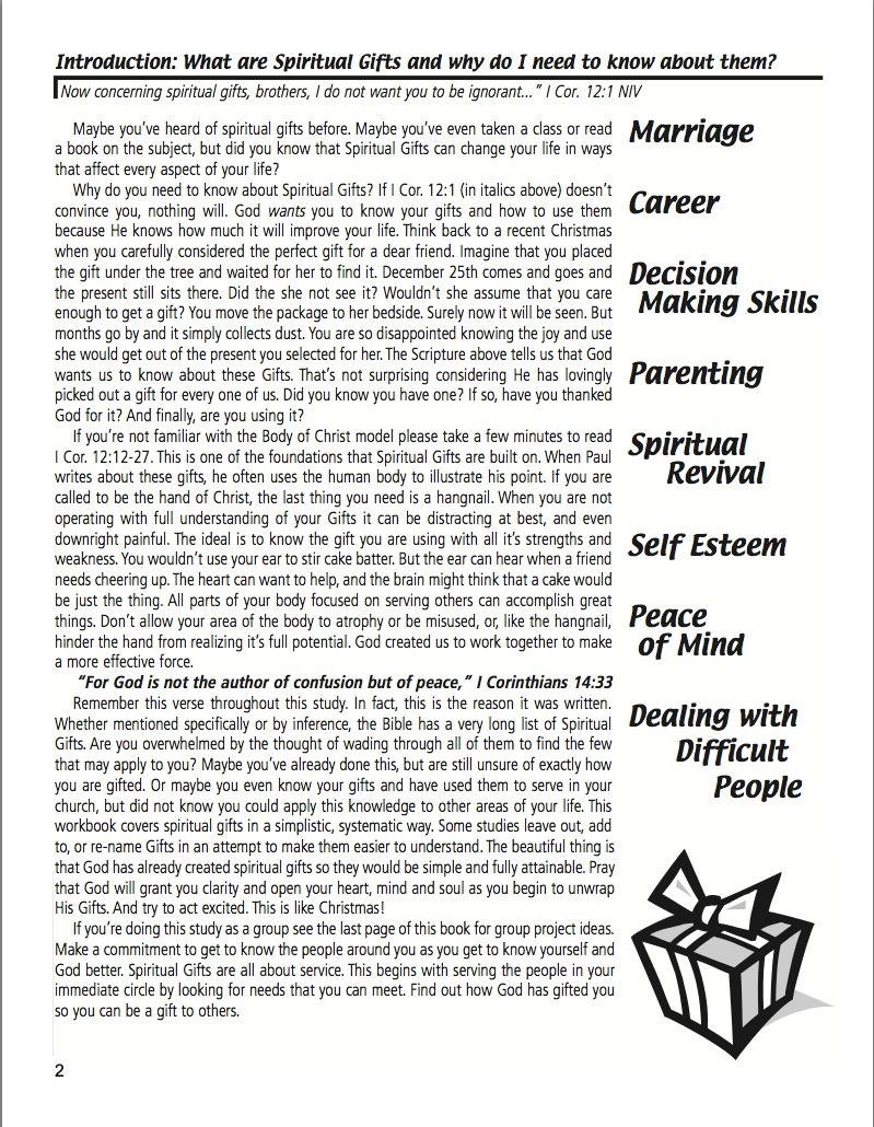 Workbooks spiritual gifts workbook : Spiritual Gifts Workbook with Spiritual Gifts Test